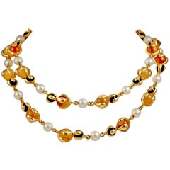 Marina B. Quartz, Pearl and Onyx Gold Necklace