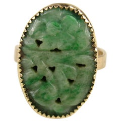 Yellow Gold and Carved Green Jade Ring Antique