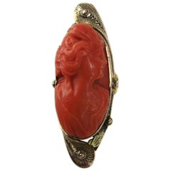 Victorian Red Coral Cameo Oval Gold Ring, Hand Carved, 1860s