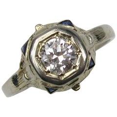 Art Deco Diamond 14 Karat Gold Engagement Ring