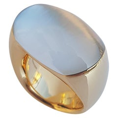 Vhernier 18 Karat Red Gold, Mother of Pearl and Rock Crystal Biscuit Ring