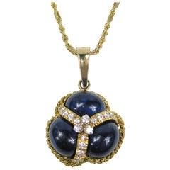 Lapis Lazuli Diamond 14 Karat Gold Pendant Necklace