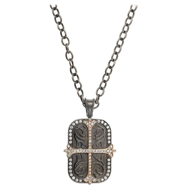 Daniel Bass NYC Large 14 Karat Gold Sterling Silver Dog Tag 1.97 Carat Diamonds For Sale