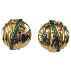 18 Karat Gold Nouvelle Bague Green Enamel Earrings