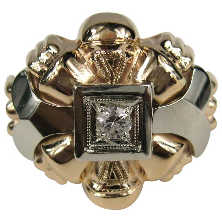 18 Karat Rose and White Gold Diamond Centre Statement Ring For Sale