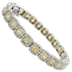 3.26 Carat Total Radiant Cut Fancy Intense Yellow Diamond Two-Tone Bracelet