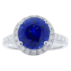 EGL Gem Lab Certiifed 3.30 Carat  Blue Sapphire And Diamond Cocktail Ring 18K