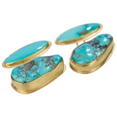 Isabelle Posillico Turquoise and Yellow Gold Cufflinks