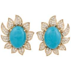 18 Karat Diamond Turquoise Earrings