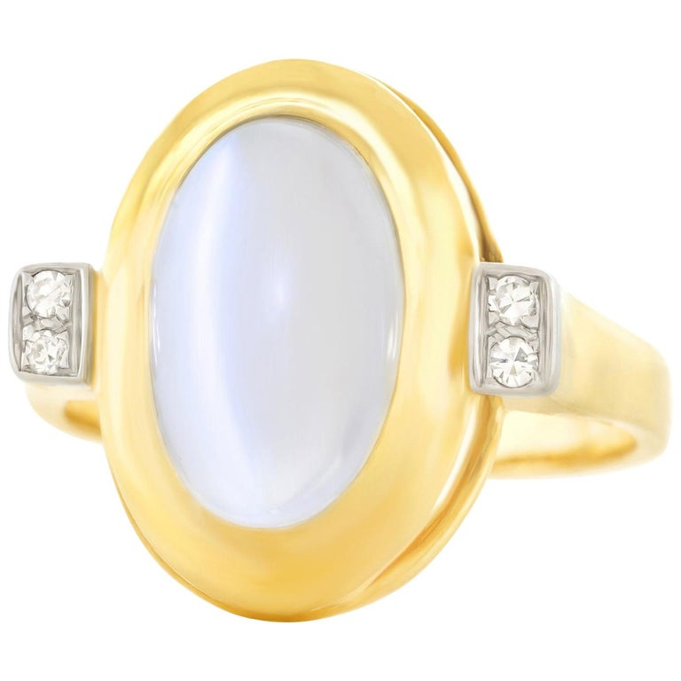 7c1bf5cc18e 1950s Modernist Moonstone and Diamond Ring For Sale at 1stdibs
