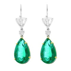 PGS Certified Pear Shape Emeralds and GIA Certified Rose Cut Diamond Earrings