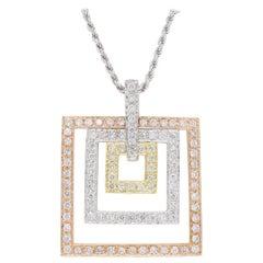 Tri-Colored Diamond Pendant Necklace