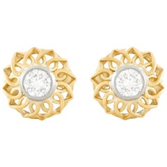 Art Deco Diamond Set Gold and Platinum Earrings
