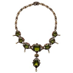 Unique Peridot Diamond Ruby Gold Necklace by C. Dahmen Cologne, circa 1860