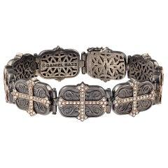 Daniel Bass, NYC 14 Karat Rose Gold Sterling Silver 2.80 Carat Diamonds Bracelet