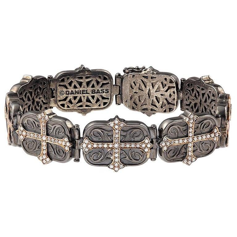 Daniel Bass, NYC 14 Karat Rose Gold Sterling Silver 2.80 Carat Diamonds Bracelet For Sale