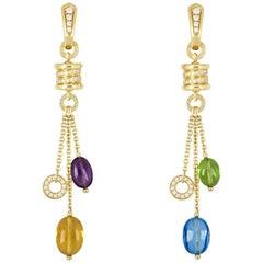 Bulgari Yellow Gold Multi-Gemstone B.Zero1 Earrings