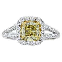 GIA Certified 1.28 Carat Cushion Cut Fancy Yellow Diamond Cocktail Ring in Plat