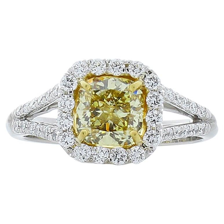 GIA Certified 1.28 Carat Cushion Cut Fancy Yellow Diamond Cocktail Ring in Plat