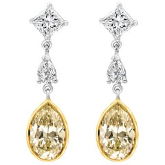Pear Shape Yellow Diamond Dangle Earrings