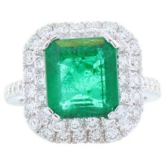4.09 Carat Emerald Cut Emerald and Diamond Cocktail Ring in 18 Karat White Gold
