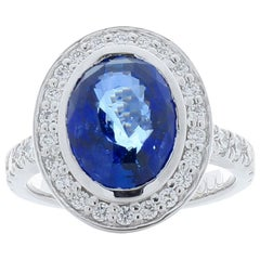 Emteem Lab Certified 5.02 Carat Oval Blue Sapphire and Diamond Cocktail Ring