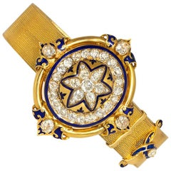Victorian Gold and Diamond Bracelet of Belt Strap Design with Hidden Locket