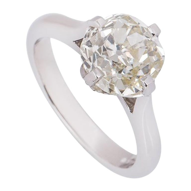 GIA Certified Platinum Old Mine Brilliant Cut Diamond Engagement Ring 2.71 Carat