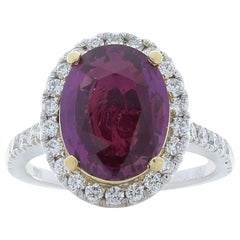 Emteem Lab Certified 3.70 Carat Oval Pink Sapphire and Diamond Cocktail Ring