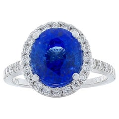 Emteem Lab Certified Blue Sapphire and Diamond Cocktail Ring in 18 Karat Gold