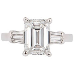 GIA Certified Emerald Cut Diamond Engagement Ring 3.02 Carat