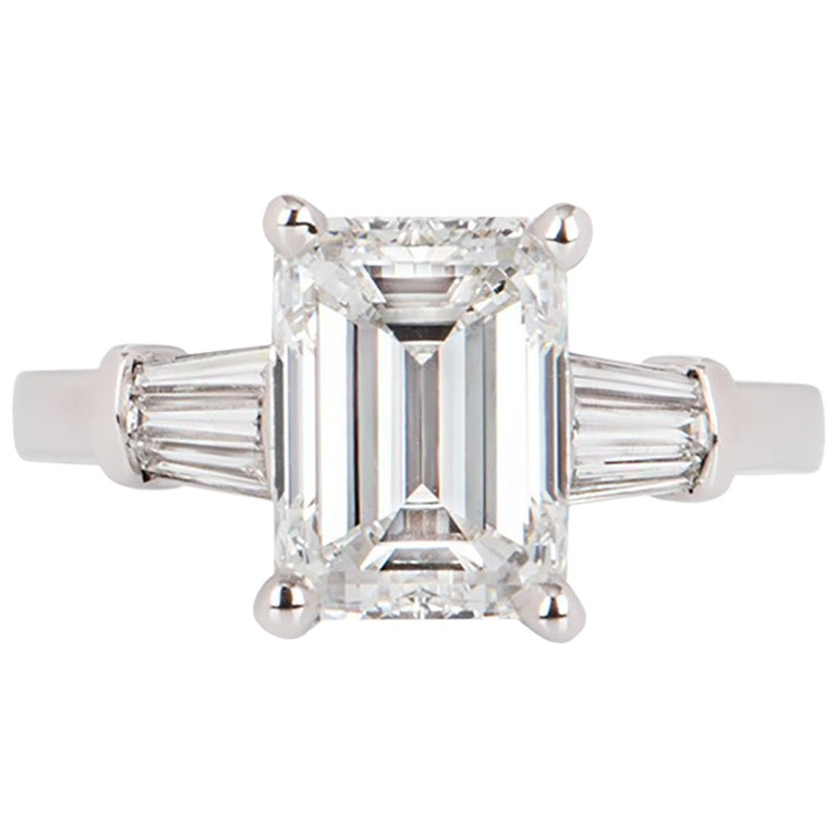 GIA Certified Emerald Cut Diamond Engagement Ring 3.02 Carat