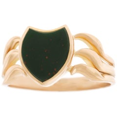 Antique Bloodstone Signet Ring in Gold