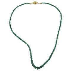 Emerald 14 Karat Gold Necklace Graduated Faceted Natural Mined Emerald