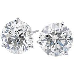 Diamond Stud Earrings 6.04 Carat K SI3-I1