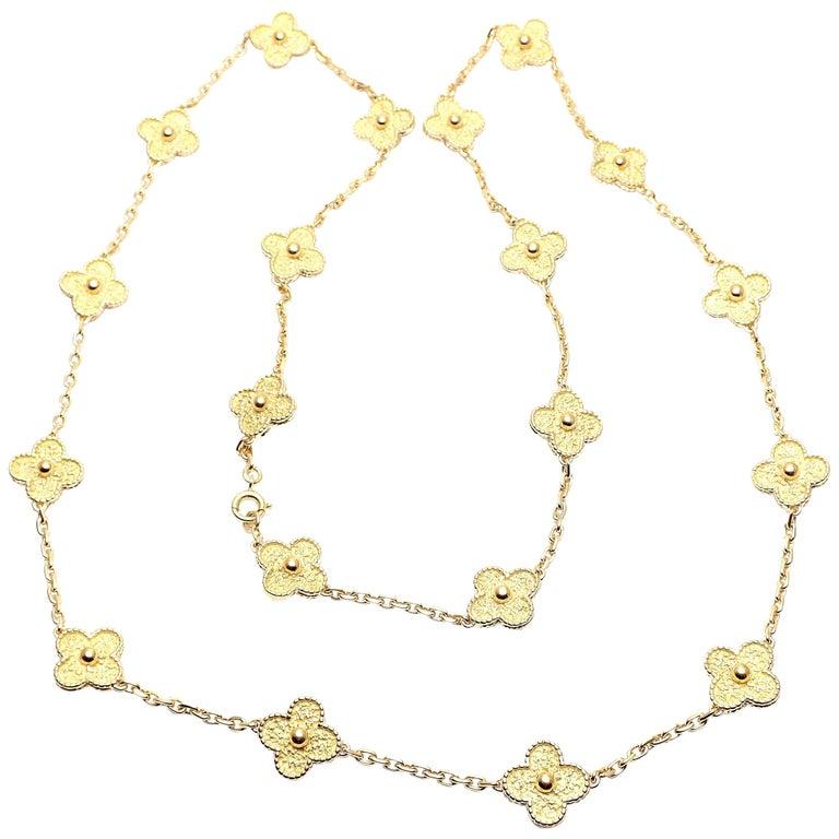 Van Cleef & Arpels Vintage Alhambra Yellow Gold 20 Motif Necklace For Sale