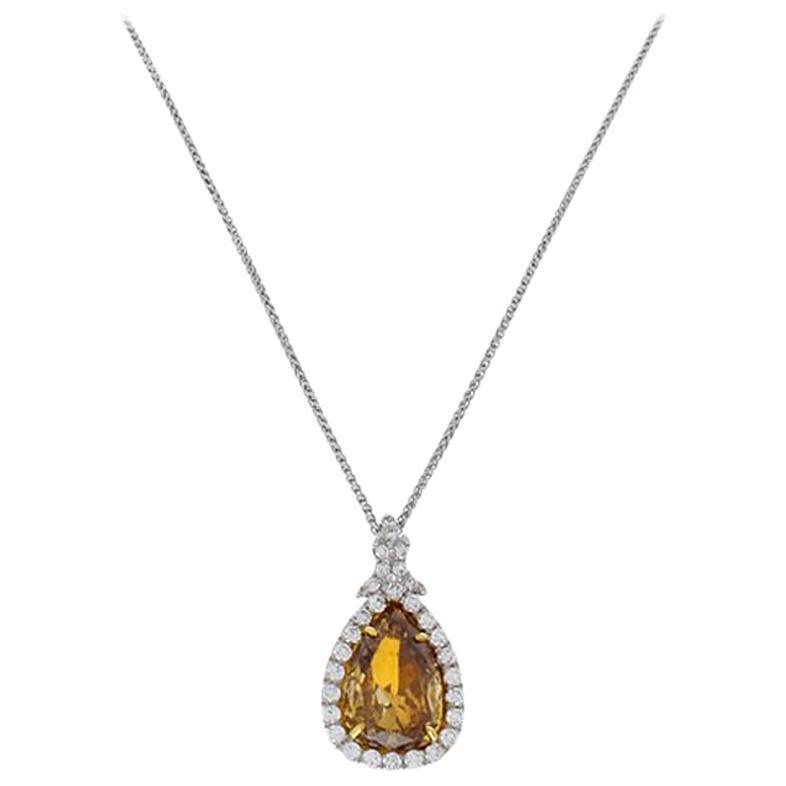 GIA Certified 3.34 Carat Pear Shaped Fancy Brown Yellow Diamond Pendant
