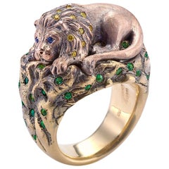 Wendy Brandes One of a Kind 18K Gold Lion Ring With a Secret Inside