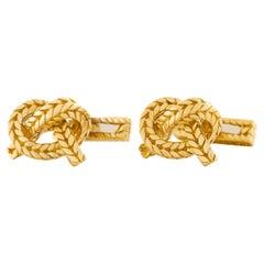 Hermes Knot Motif Gold Cufflinks