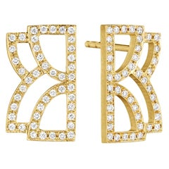 Doryn Wallach Collins Gold and Diamond Stud Earrings