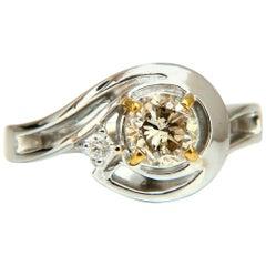 .85 Carat Natural Fancy Light Brown Diamond Ring 14 Karat Infinity Wrap