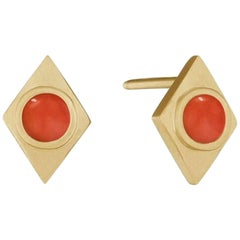 Doryn Wallach Vintage Coral and Gold Stud Earrings