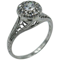 Art Deco Diamond Platinum Wedding Engagement Ring Edwardian