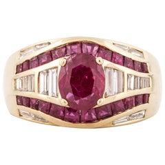 Sabbadini Ruby Diamond Ring in Yellow Gold