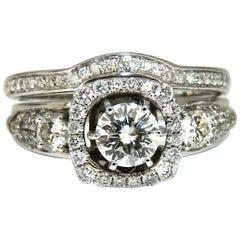 GIA Certified .74 Carat Round Cut Diamond and 1.00 Carat Ring 14 Karat and Band