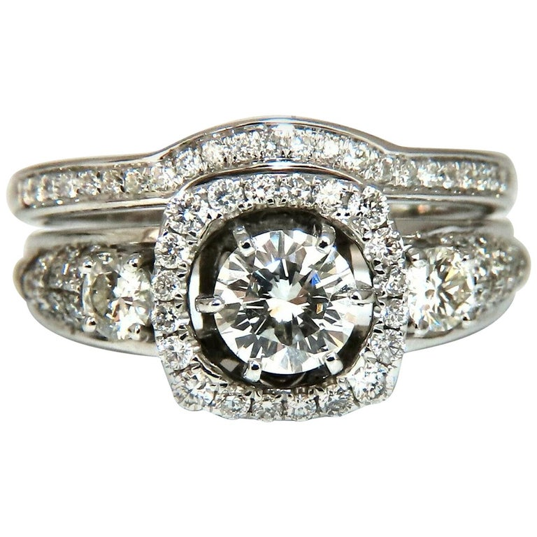 GIA Certified .74 Carat Round Cut Diamond and 1.00 Carat Ring 14 Karat and Band For Sale