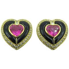 Pink Tourmaline Black Onyx and Diamond Heart Gold Earrings