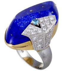 White and Blue Diamond Lapis White and Yellow Gold Ring