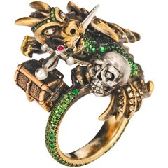 Wendy Brandes Signed Maneater Collection Ring: Dragon and Knight