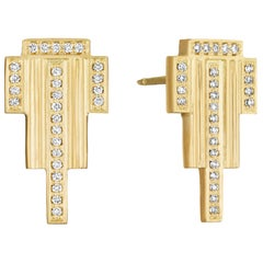 White Diamond and Yellow Gold Stud Earrings